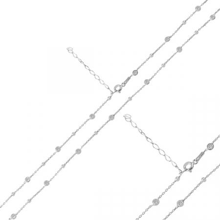 Colier argint 925 rodiat cu bilute si zirconii reglabil - LTU0032