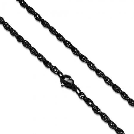 Lant negru inox sfoara 50 cm si 3 mm LSL03190