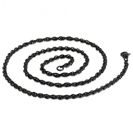 Lant negru inox sfoara 50 cm si 3 mm LSL03191