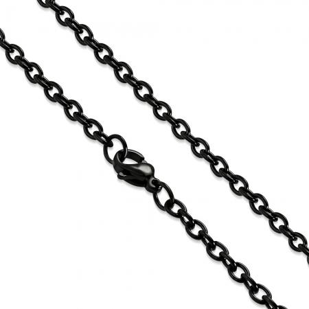 Lant negru inox cu zale ovale 60 cm si 3 mm LSL03240