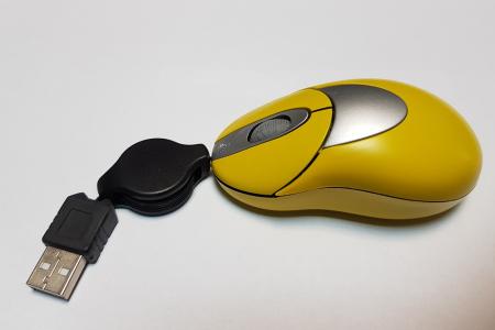 Mouse optic elegant galben cu mufa USB1