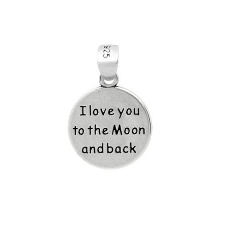 Pandant argint 925 cu doua fete I love you to the Moon and back PSX0631 - Be In Love0