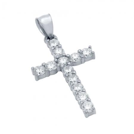 Pandant argint 925 rodiat in forma de cruce PSX0622