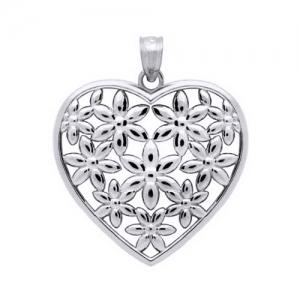 Pandant argint 925 rodiat inimioara cu floricele - Be Nature