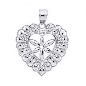 Pandant argint 925 rodiat inimioara cu floricica - Be Nature, Be Special