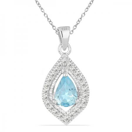 Pandant argint Anastasia, 925, cu topaz Sky Blue si zirconiu alb - PVA0007
