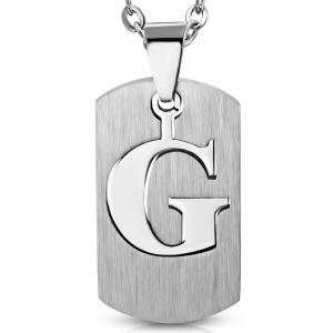Pandant inox placuta identificare cu litera G