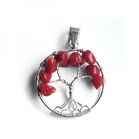 Pandantiv argint 925 copacul vietii cu pietre rosii