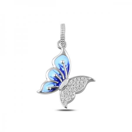Pandantiv argint 925 fluturas albastru si zirconii albe - Be Nature PTU0006