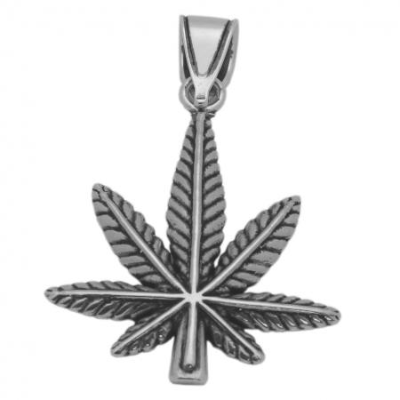 Pandantiv argint 925 oxidat frunza de marijuana PSX0634