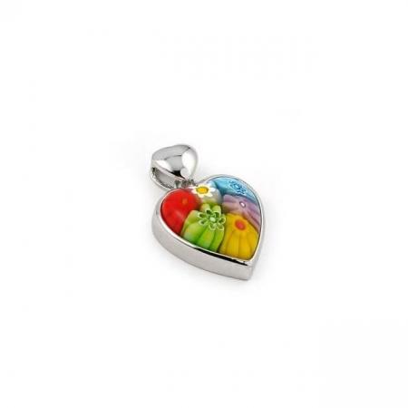Pandantiv argint 925 inimioara cu sticla Murano Millefiori PSX0574 - Be In Love