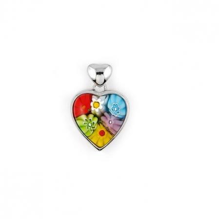 Pandantiv argint 925 inimioara cu sticla Murano Millefiori PSX0574 - Be In Love1