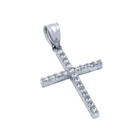 Pandantiv argint 925 rodiat cruce cu zirconii PSX0623