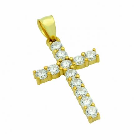 Pandantiv argint cruce, placat cu aur, cu zirconii PSX0703