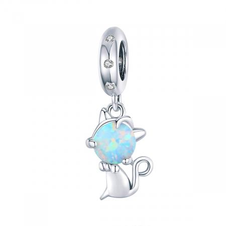 Pandantiv argint cu pisicuta si opal
