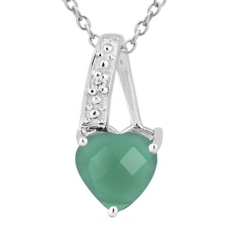 Pandantiv argint elegant cu inima de agata verde - PVA0015