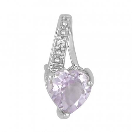 Pandantiv argint elegant cu inima de ametist roz si zirconii - PVA0016