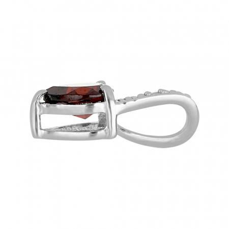 Pandantiv argint elegant cu inima de granat si zirconii - PVA00141