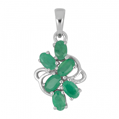 Pandantiv argint elegant cu smarald si zirconiu - PVA0017