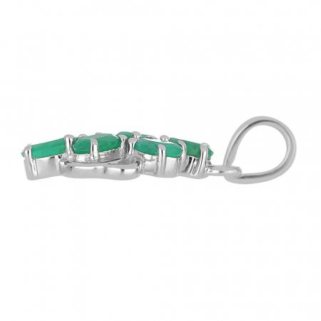 Pandantiv argint elegant cu smarald si zirconiu - PVA00171