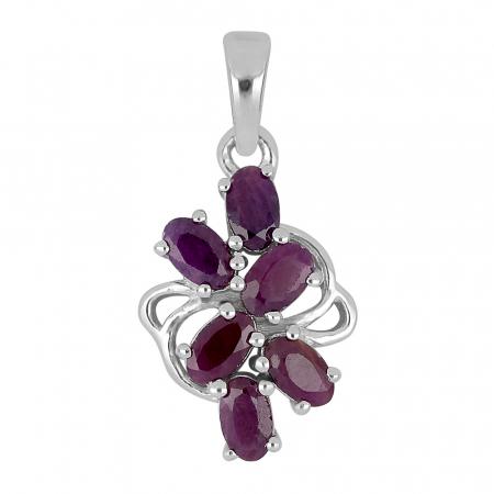 Pandantiv argint floare cu rubin - PVA0019