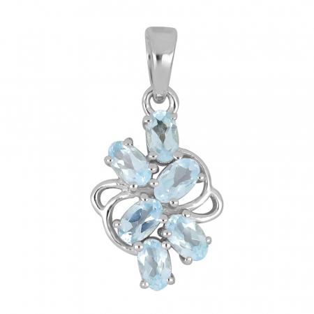Pandantiv argint floare cu topaz - PVA0020