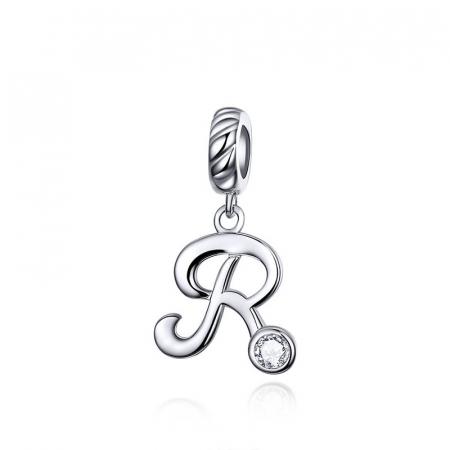 Pandantiv argint litera R cu zirconiu