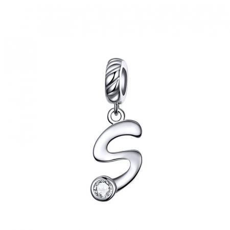 Pandantiv argint litera S cu zirconiu