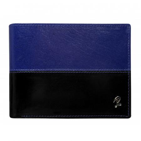 Portofel barbati din piele naturala cu protectie RFID Rovicky PORM106 Albastru