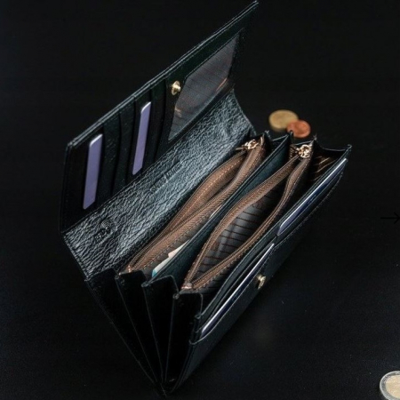 Portofel de lux pentru dama din piele naturala lacuita PORTG004, Negru10