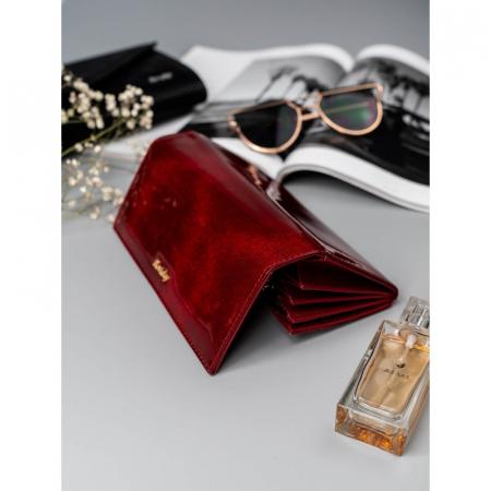 Portofel de lux pentru dama din piele naturala PORTG015, Rosu13