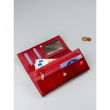 Portofel de lux pentru dama din piele naturala PORTG015, Rosu17