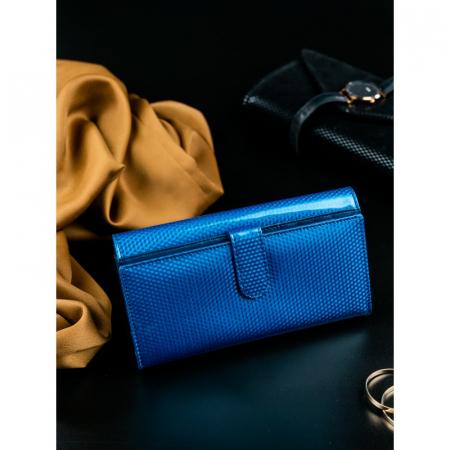 Portofel de lux pentru dama din piele naturala PORTG426, Albastru, Rovicky [3]