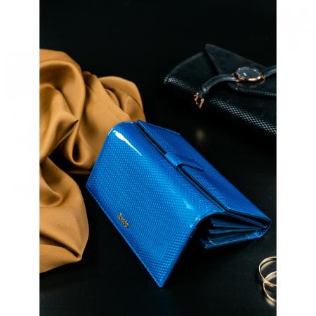 Portofel de lux pentru dama din piele naturala PORTG426, Albastru, Rovicky [5]