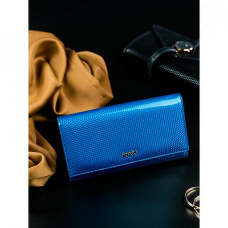 Portofel de lux pentru dama din piele naturala PORTG426, Albastru, Rovicky [2]
