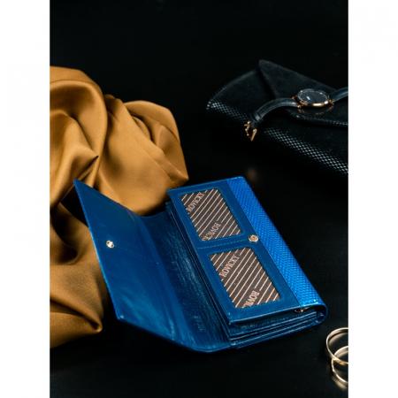Portofel de lux pentru dama din piele naturala PORTG426, Albastru, Rovicky [6]