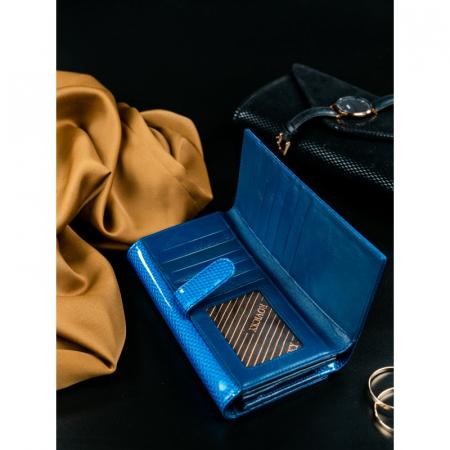 Portofel de lux pentru dama din piele naturala PORTG426, Albastru, Rovicky [7]