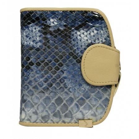 Portofel lux dama din piele naturala model sarpe, albastru  PORT625