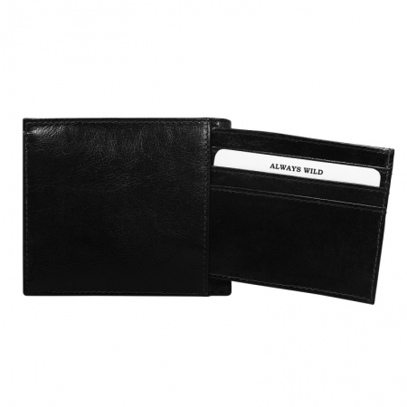 Portofel minimalist / copii, din piele naturala cu portcard detasabil Wild PORM201 Negru