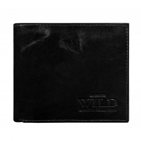 Portofel minimalist / copii, din piele naturala cu portcard detasabil Wild PORM201 Negru1