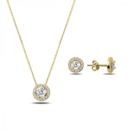 Set argint 925 aurit cu floricele si zirconii albe - Be Nature STU0028