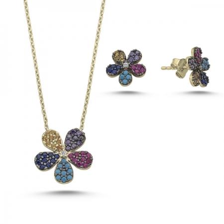 Set argint 925 aurit cu floricele si zirconii multicolore - Be Nature STU0024
