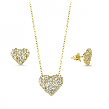 Set argint 925 aurit cu inimioare si zirconii albe - Be in Love STU0009