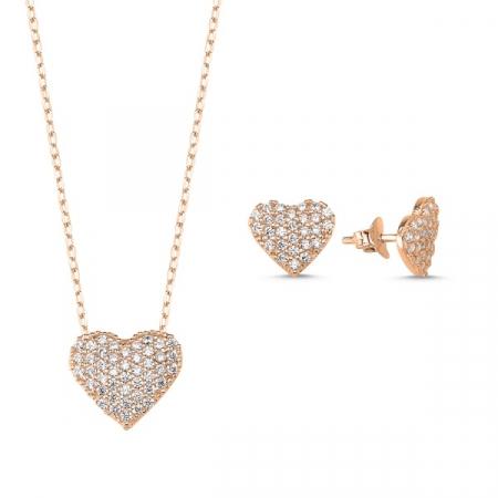 Set argint 925 colier si cercei cu inimioare si zirconii placat cu aur roz