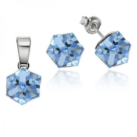 Set argint 925 cu swarovski elements Aquamarine