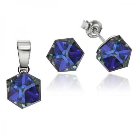 Set argint 925 cu swarovski elements culoare Bermuda Blue