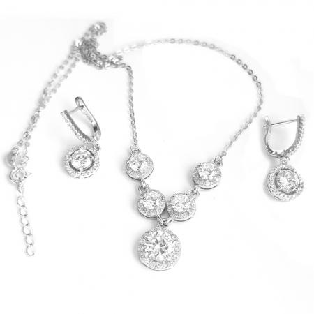 Set elegant argint 925 rodiat cu zirconii cercei si colier SET04571