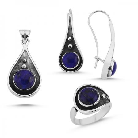 Set argint 925 lucrat manual cu Lapis Lazuli si Inel Reglabil - Be Elegant