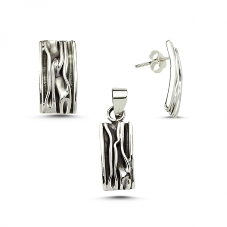 Set argint 925 model scoarta copac cu aspect vintage - Be Nature STU0014