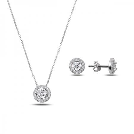 Set argint 925 rodiat cu floricele si zirconii albe - Be Nature STU0027